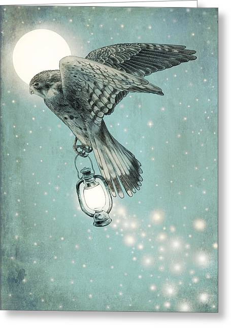 Hawk Bird Greeting Cards - Nighthawk Greeting Card by Eric Fan