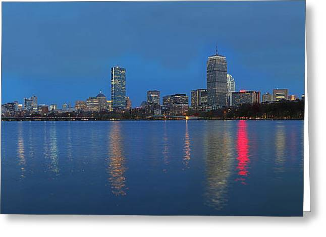 Boston Skyline Photo Greeting Cards - Nighttime Greeting Card by Juergen Roth