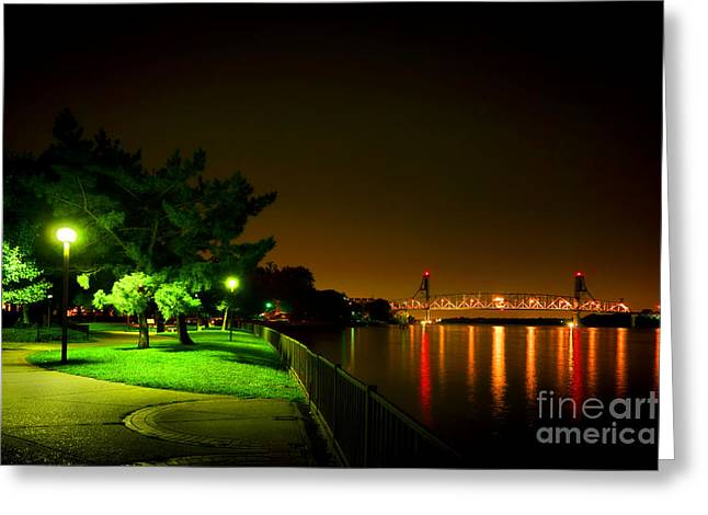 Streetlight Greeting Cards - Nightime Promenade Greeting Card by Olivier Le Queinec