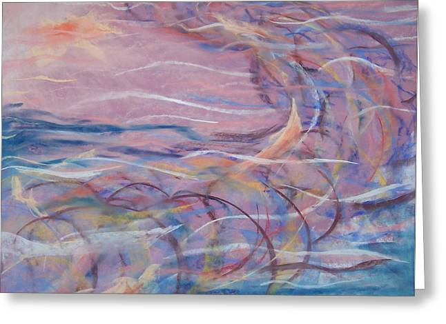 Abstract Movement Pastels Greeting Cards - Nightingale Greeting Card by Cynthia Gough