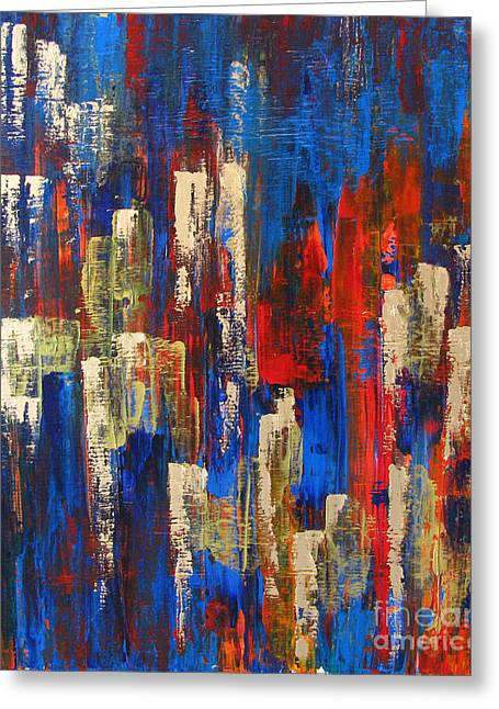 Pallet Knife Greeting Cards - Nightlife Cleveland Greeting Card by JoAnn DePolo