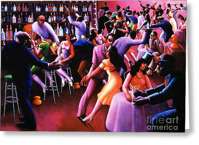 Harlem Renaissance Greeting Cards - Nightlife Greeting Card by Pg Reproductions
