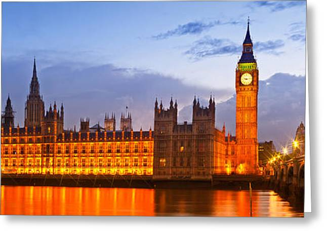 Nightly View - Houses Of Parliament Greeting Card by Melanie Viola
