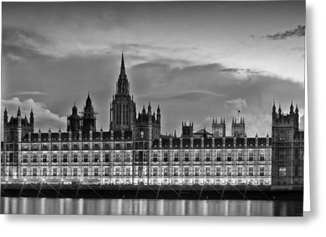 Gb Greeting Cards - Nightly View LONDON Houses of Parliament bw Greeting Card by Melanie Viola