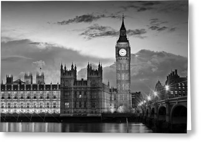 Longtime Exposure Greeting Cards - Nightly View LONDON Houses of Parliament bw Greeting Card by Melanie Viola