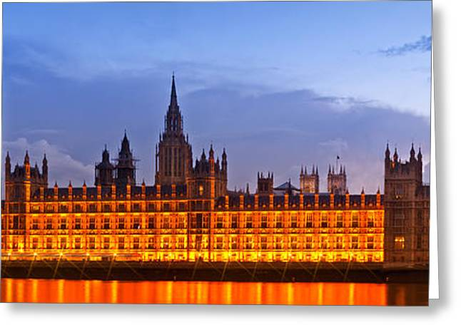 Gb Greeting Cards - Nightly View LONDON Houses of Parliament Greeting Card by Melanie Viola