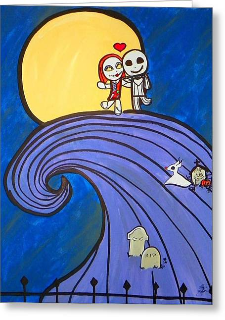 Cemetary Paintings Greeting Cards - Nightmare Before Christmas Hill Cute Greeting Card by Marisela Mungia