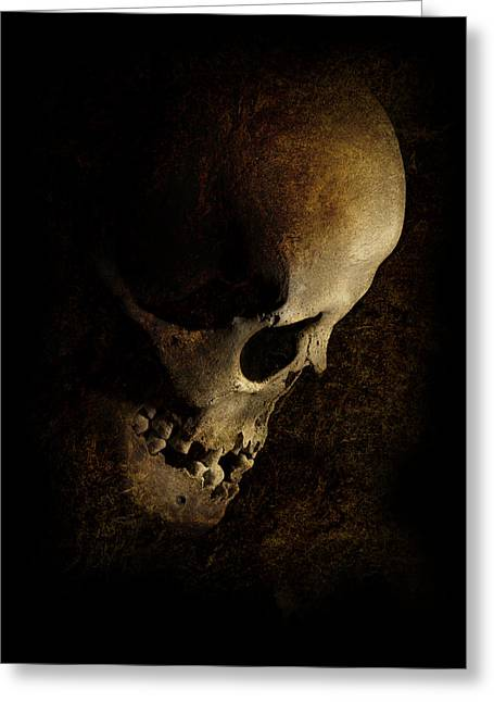 Missing Teeth Greeting Cards - Nightmares with human skull Greeting Card by Jaroslaw Blaminsky