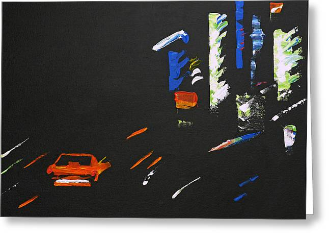 Speeding Taxi Greeting Cards - NightRider Greeting Card by Michael Tokarski