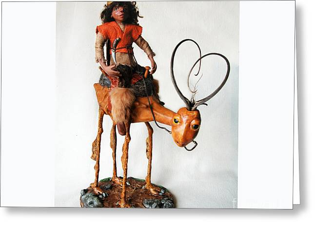 Doll Sculptures Greeting Cards - Nightrider - mythical creatures Greeting Card by Linda Apple