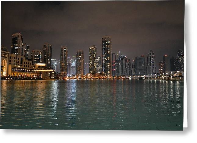 Man-made Lake Greeting Cards - Nightscape Greeting Card by Corinne Rhode