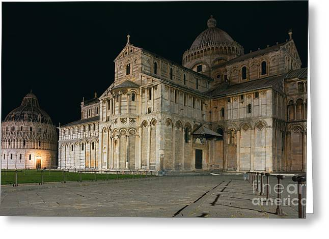 Italian Evening Greeting Cards - Nightshot of Piazza dei Miracoli in Pisa Greeting Card by Kiril Stanchev