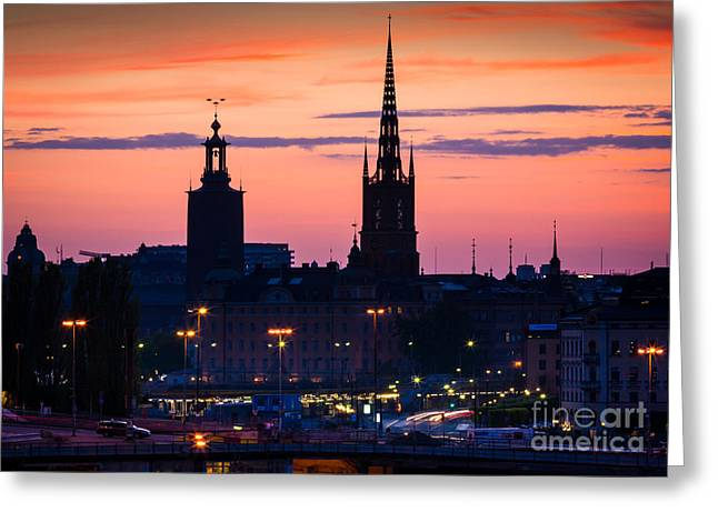 Europa Greeting Cards - Nightsky over Stockholm Greeting Card by Inge Johnsson