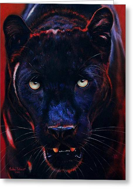 Jaguars Pastels Greeting Cards - Nightstalker  Black Panther version A Greeting Card by John  Palmer