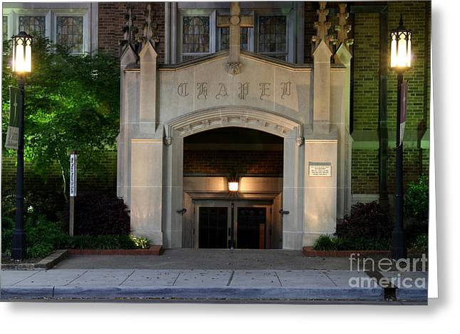 Entrance Door Greeting Cards - Nighttime Chapel Greeting Card by Bill Keiran