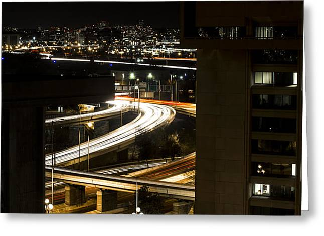 Nighttime Commute  Greeting Card by Andrew Pacheco