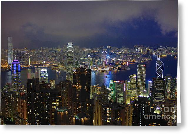 Kowloon Greeting Cards - Nighttime from the Peak Greeting Card by Joerg Gundlach