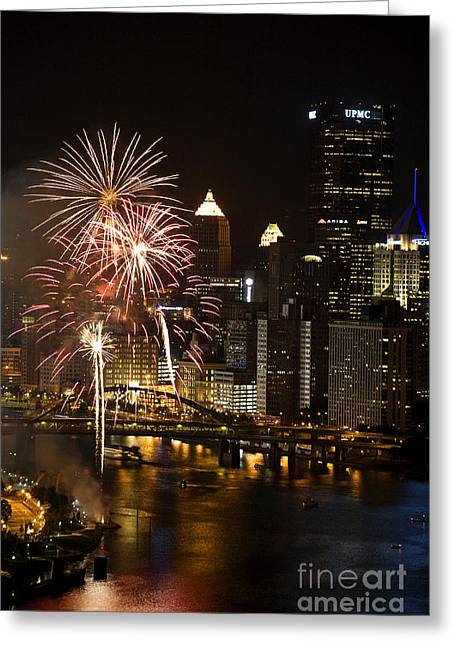 Pittsburgh Skyline.fireworks Greeting Cards - Night-time in Downtown Pittsbugrh With Fireworks Greeting Card by Jan Tyler