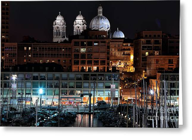 Azur Greeting Cards - Nighttime in Marseille Greeting Card by John Rizzuto