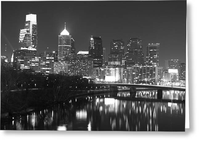 Reflectio Greeting Cards - Nighttime in Philadelphia Greeting Card by Alice Gipson