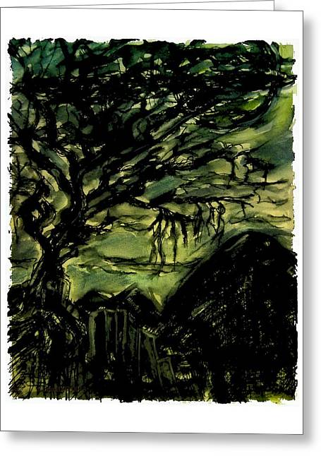 Silence Drawings Greeting Cards - Nighttime Greeting Card by Mimulux patricia no