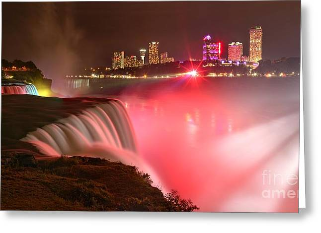 Prospects Greeting Cards - Nighttime Niagara Falls Panorama Greeting Card by Adam Jewell