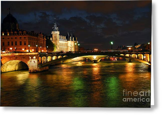 Ornate Photographs Greeting Cards - Nighttime Paris Greeting Card by Elena Elisseeva