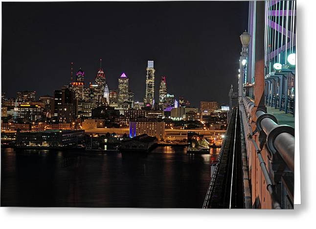 Ben Franklin Bridge Greeting Cards - Nighttime Philly from the Ben Franklin Greeting Card by Jennifer Lyon