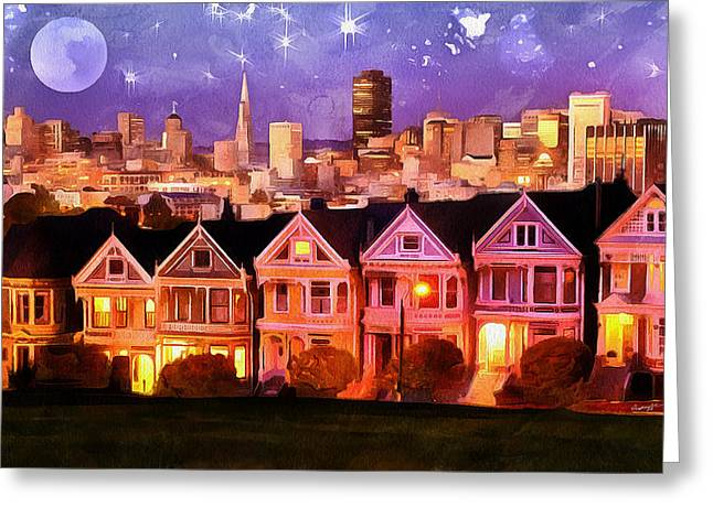 Anthony J Caruso Greeting Cards - Nighttime SF          Greeting Card by Anthony Caruso