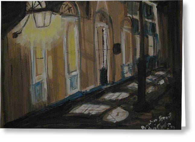French Doors Pastels Greeting Cards - Nightwalk at French Quarter Greeting Card by Agata Suchocka-Wachowska