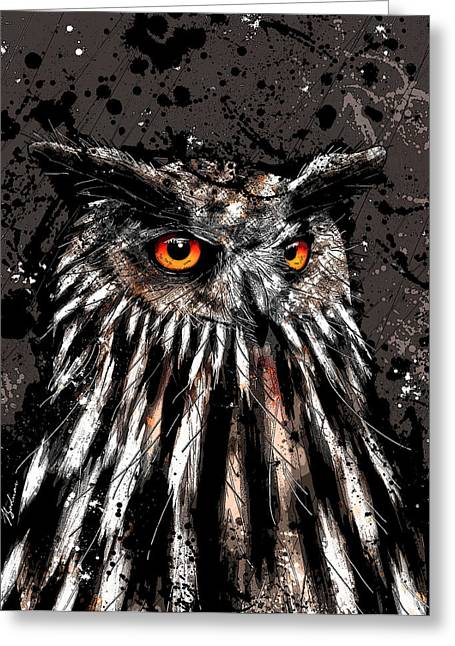Abstract Owl Greeting Cards - Nightwatcher  Greeting Card by Gary Bodnar