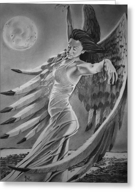 Night Angel Drawings Greeting Cards - Nightwish Greeting Card by Mark Shynk
