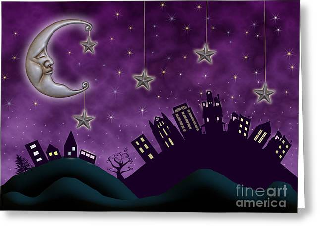 Hand Drawn Greeting Cards - Nighty Night Greeting Card by Juli Scalzi