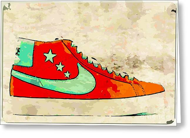 NIke Blazer orange Greeting Card by Alfie Borg