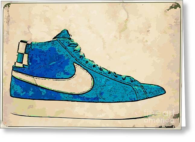 Nike Greeting Cards - Nike Blazer Turq 2 Greeting Card by Alfie Borg