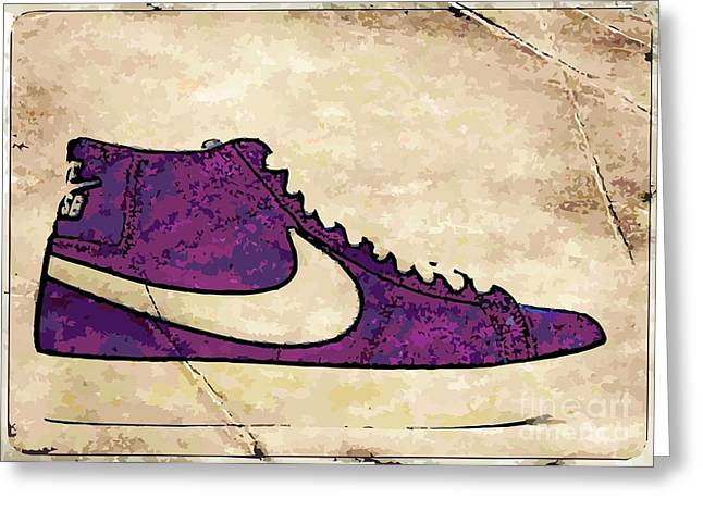 Nike Blazers purple Greeting Card by Alfie Borg