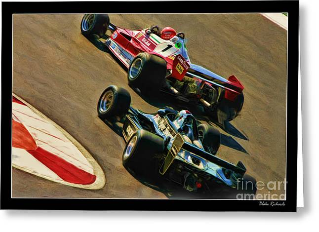 Andretti Greeting Cards - Niki Lauda leads Mario Andretti Greeting Card by Blake Richards