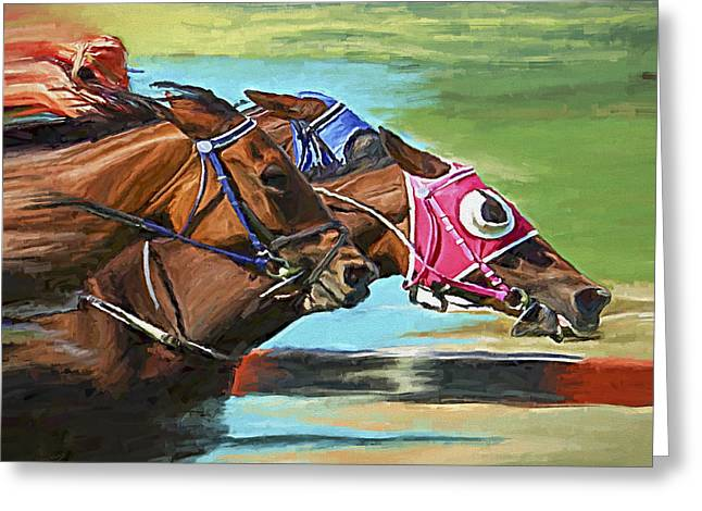 Race Horse Greeting Cards - Nikita By A Head Greeting Card by David Wagner