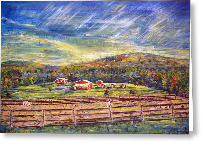 Upstate Paintings Greeting Cards - Nikki and Her Babies Farm Sanctuary Portrait Greeting Card by Denny Morreale