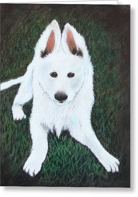 Doggy Pastels Greeting Cards - Nikki Greeting Card by Jeanne Fischer