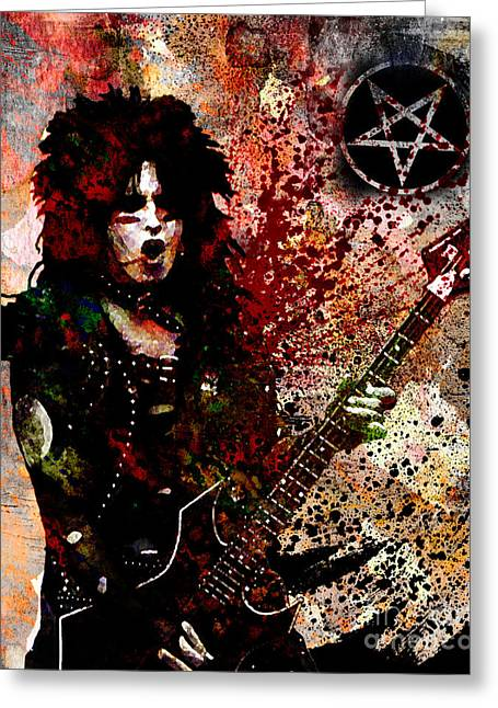 Rock N Roll Greeting Cards - Nikki Sixx - Motley Crue  Greeting Card by Ryan RockChromatic