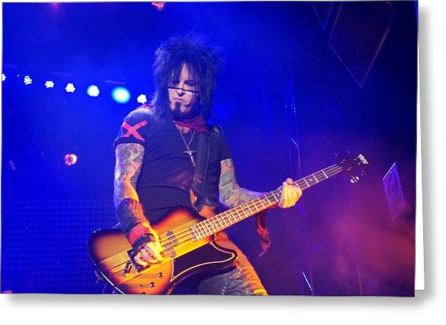 Recently Sold -  - Vince Greeting Cards - Nikki Sixx  Greeting Card by Melissa C