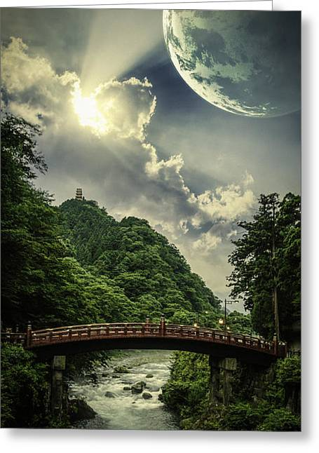 Unrealistic Greeting Cards - Nikko Bridge to Heaven Greeting Card by Nathan Spotts