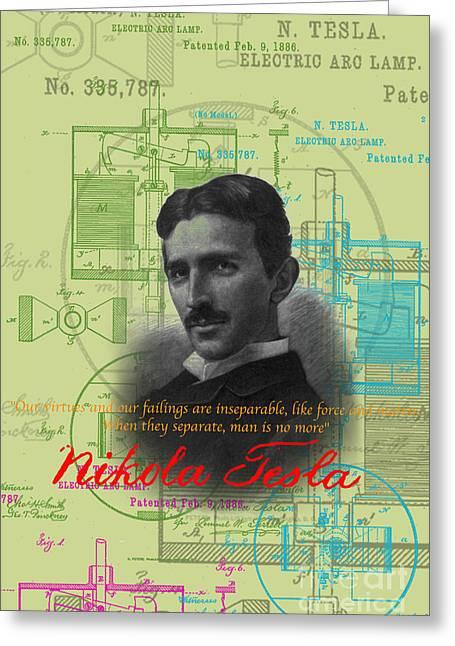 Best Sellers -  - Edison Greeting Cards - Nikola Tesla #3 Greeting Card by Jean luc Comperat