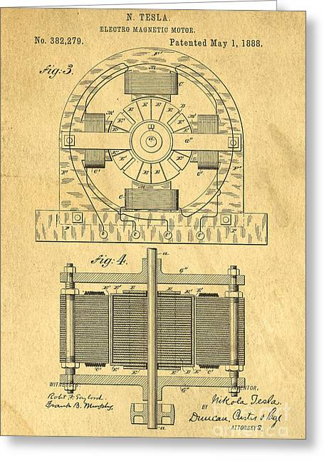 Coil Greeting Cards - Nikola Tesla Coil Patent Art Greeting Card by Edward Fielding