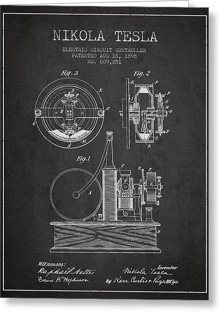 Generators Greeting Cards - Nikola Tesla Electric Circuit Controller Patent Drawing From 189 Greeting Card by Aged Pixel