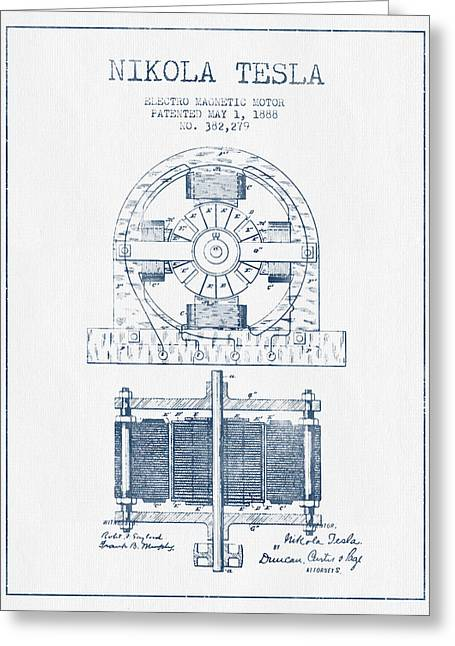 Generators Greeting Cards - Nikola Tesla Electro Magnetic Motor Patent Drawing From 1888 - B Greeting Card by Aged Pixel