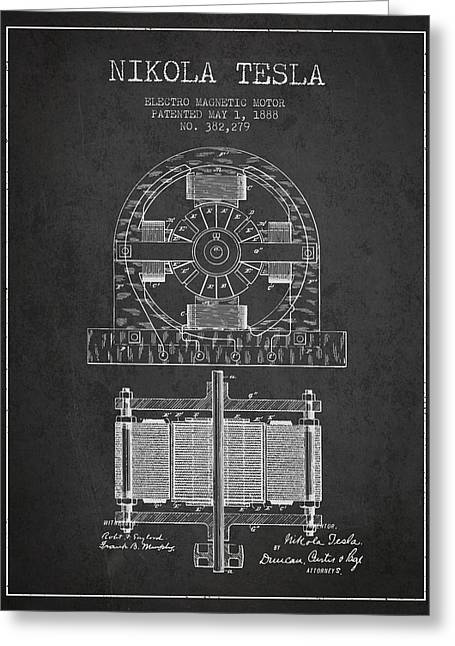 Generators Greeting Cards - Nikola Tesla Electro Magnetic Motor Patent Drawing From 1888 - D Greeting Card by Aged Pixel