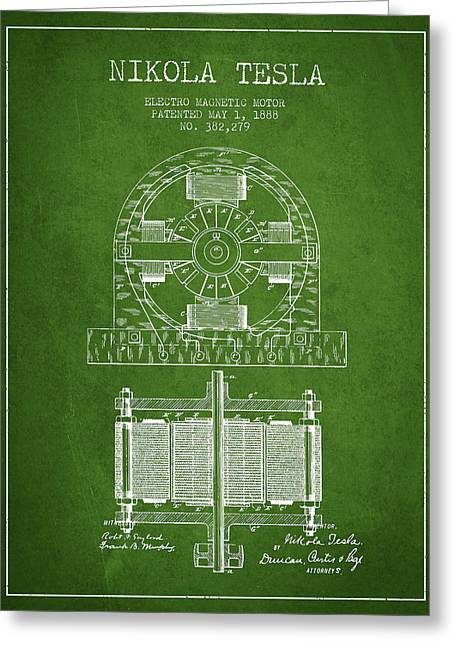 Magnetic Greeting Cards - Nikola Tesla Electro Magnetic Motor Patent Drawing From 1888 - G Greeting Card by Aged Pixel