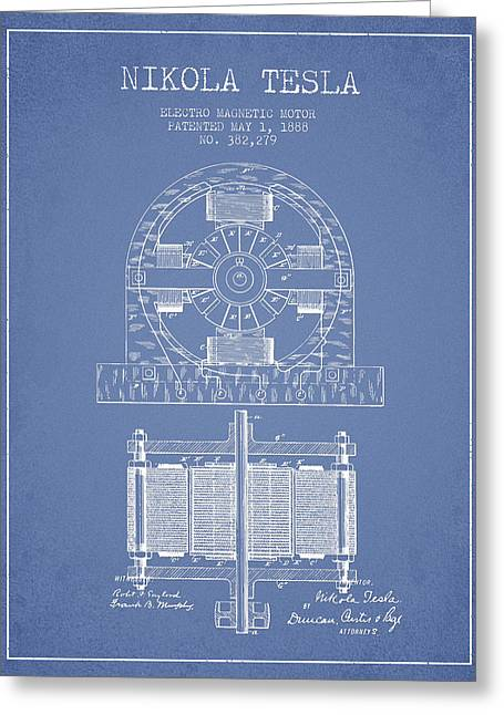 Generators Greeting Cards - Nikola Tesla Electro Magnetic Motor Patent Drawing From 1888 - L Greeting Card by Aged Pixel
